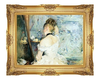Lady at Her Toilette Berthe Morisot Painting Reproduction Framed Art Canvas Wall Artwork - Small to Large Sizes - M00195
