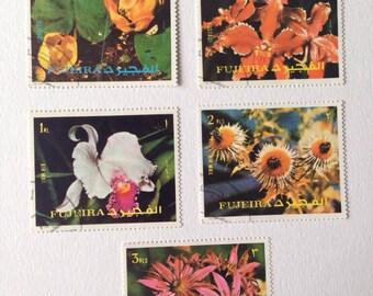 Rare plant Vintage Stamps - Fujeira