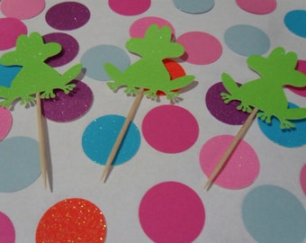12 Glitter Frog Cupcake Toppers ( 11 Color )