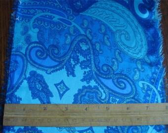 100% Silk Charmeuse Paisley - Blue Bayou Paisley