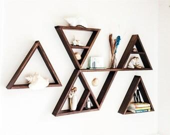 Triangle Shelves - Custom Made in Choice of Stain Color - Nursery Decor - Display Shelves - Home Decor - Geometric Shelves - Triangle Shelf
