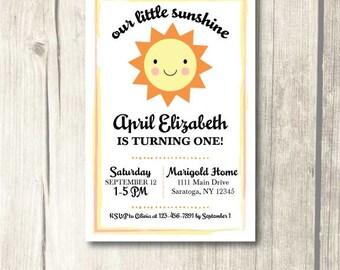 Our Little Sunshine Birthday Invitation *Printable*