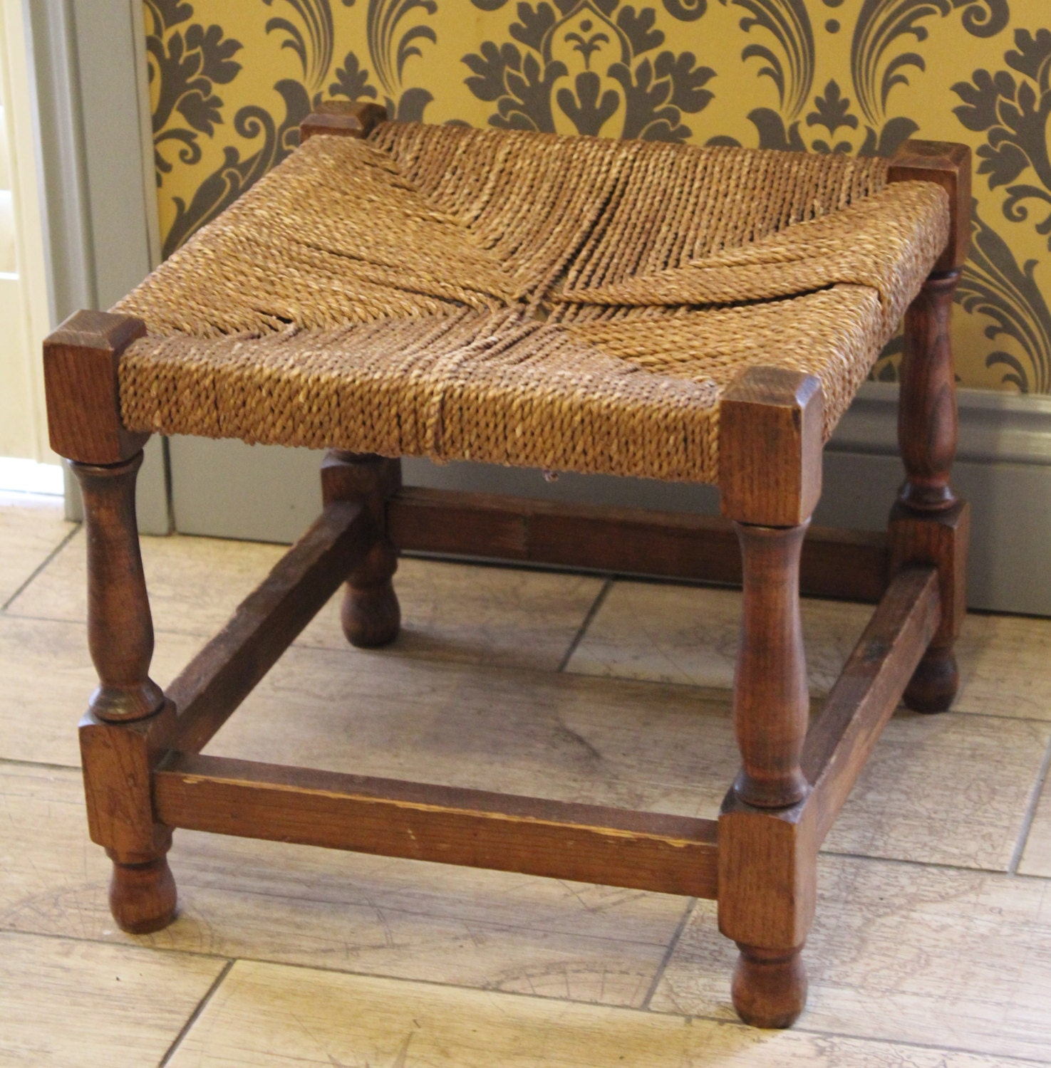 an vintage small footstool stool farmhouse shabby chic. Black Bedroom Furniture Sets. Home Design Ideas