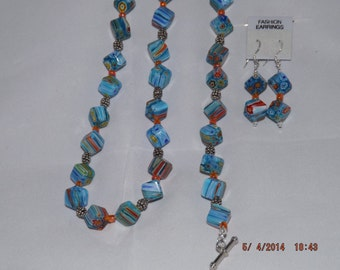 Necklace, Bracelet and Earrings in Blue and Red