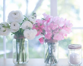 48 new glass jars - Assorted sizes - Ideal rustic chic wedding decor