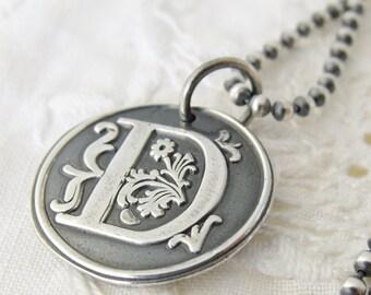 Initial Wax Seal Necklace, Eco Friendly Fine Silver, Monogram Initial Pendant,  Rustic, Custom Wax seal