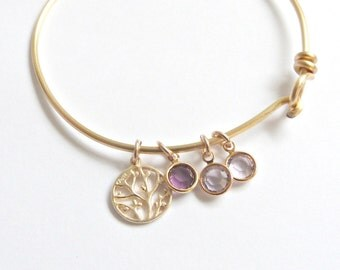 Family Tree Bangle,Mothers Day Gift, Adjustable Bangle, Personalized Jewelry, New mom Gift, Grandma gift, Modern Tree Adjustable
