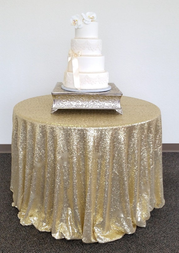 Sparkly Light Gold Glitz Sequin Table Cloth Sequin