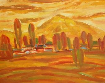 Vintage landscape mountain oil painting signed