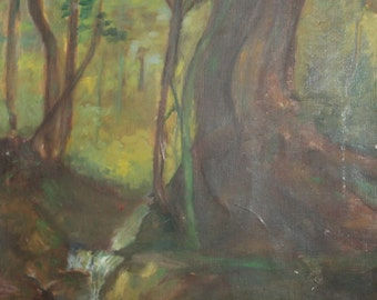 Vintage landscape forest oil painting
