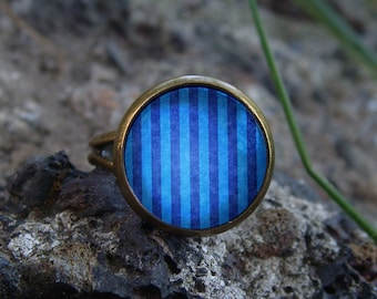 Glow in the dark Ring / Blue stripes / Glow ring / Glowing ring / Blue glowing / Glowing jewelry / Glow in the dark jewelry / Handmade ring