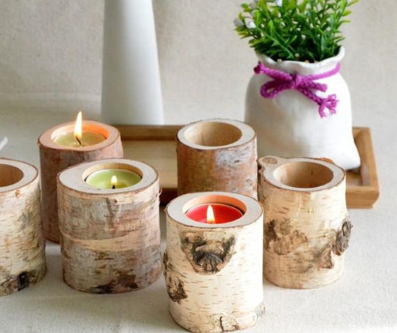 Items similar to brich tree branch candle holders set of
