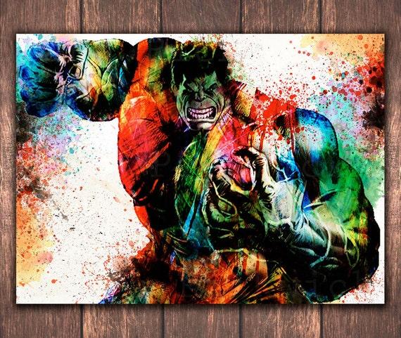 Avengers Watercolor: Hulk Digital Wall Art The Avengers Watercolor By DIDIposter