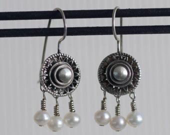 Silver & Pearl Earrings by Allison Stern ~ Vintage 1996 ~ French Wire