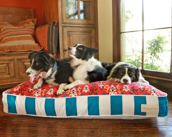 Poppy Cabana Blue Dog Bed | Unique Pet Bed | Flippable Pet Beds | Designer Dog Beds that add to Home Decor | Washable Cover | S M L