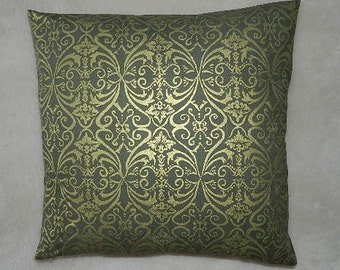 7 Sizes Available - Robert Kaufman  Shimmer  Pillow Cover  Olive Green and Gold