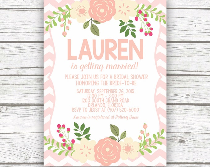 Pink Chevron Floral Bridal Shower Invitation w/ Matching Back, Pink Peony Rustic Bridal Shower Invitation, Printed or Printable Invitation