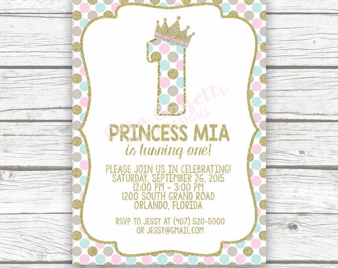 Princess First Birthday Invitation, 1st Birthday Invitation, Pink and Gold Birthday Invitation, First Birthday Girl, Princess Invitation