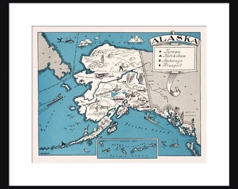 Alaska Map - Map of Alaska - State Map - Vintage Map - Poster - Print - Pictorial - Cartoon Map