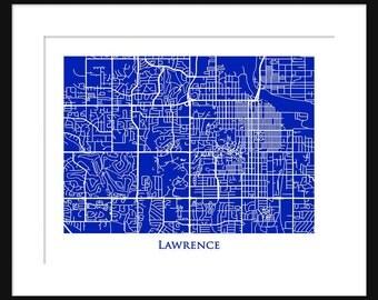 Lawrence Kansas Map - Map of Lawrence Kansas - University of Kansas - Print - Poster - Jayhawks