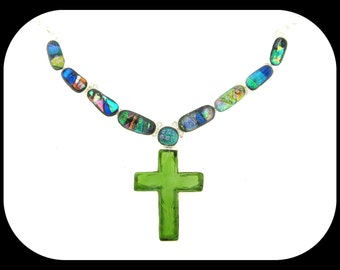 Carved green quartz CROSS PENDANT & dicroic glass .925 sterling silver NECKLACE
