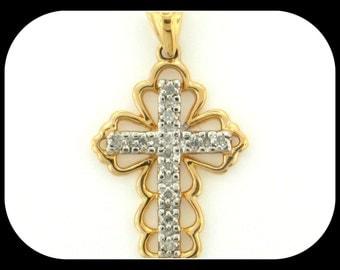 14KT yellow gold & diamond antique design cross PENDANT