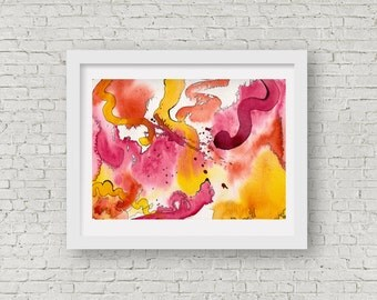 Orange and Pink abstract fine art giclee print