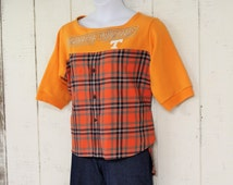 Tennessee Orange Shirt, Hi Lo Hem, Redneck Girl Shirt, Refashioned Game Day Shirt, Flannel Shirt, Recycled Fashion, Plus Size Woman Casual