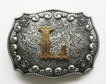 "Initial Letter ""L"" Western Cowboy Rodeo Belt Buckle"