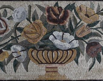 Rich Colorful Floral Vase Home Interior Design Marble Mosaic FL225