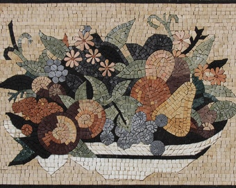 Healthy Nutrition Rich Fruit Basket Kitchen Design Marble Mosaic KB99