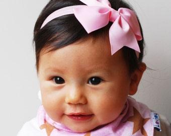 Baby Headband Bows Set of 2 Baby Headband With Bow Pink Bow Headband Pink Baby Headband Baby Headband Set Baby Hair Bows Baby Hairbows