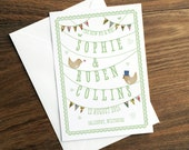 Custom Personalised Wedding Card - Vintage Wedding Green Birds Nature Confetti Bunting Papercut Commemorative Customised Greetings Card