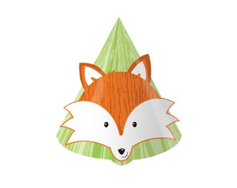 Fox Party, Fox Birthday, Party Hat, Birthday Hat, Woodland Birthday, Fox, Birthday Party Hats, Kids Birthday Hats, Paper Hat, Paper Cone Hat