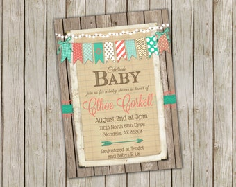 Gender Neutral Baby Shower Invitation with Colorful Bunting - printable 5x7
