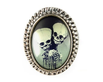 Antique Silver Freak Show Oddity Conjoined Twins Fetus Adjustable Ring 99-SOR