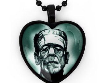 Jet Black Gothic Frankenstein Horror Icon Glass Heart Pendant Necklace 87-JBHN
