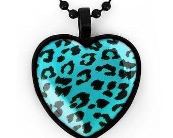 Jet Black Punk Rock Leopard Animal Print Heart Pendant Necklace 203-JBHN