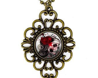 Antique Bronze Day of the Dead Girl Sugar Skull Glass Filigree Pendant Necklace 73-BFN