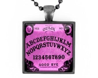 Gunmetal Black Traditional Purple Ouija Board Glass Horror Pendant Necklace 50-GMSN