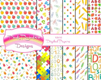 Back To School Seamless Digital Scrapbook Paper Collection | 12 x 12 | Learning | Education