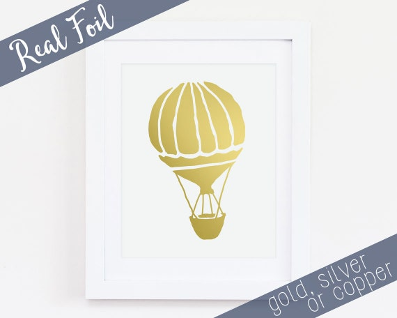 Hot Air Balloon Gold Foil Print Real Gold Foil By