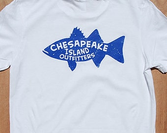Fish design - blue | Blue fish on white shirt | Striper fish | fish shirt | Striped Bass | fishing shirt | Fish Graphic T | Preppy Fish