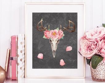 Deer Art Printable, Deer watercolor, Floral print, Antlers print, peonies wall art, 8 x 10in printable, wall decor printable, deer skull art
