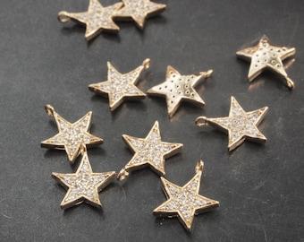 P0149/Anti-Tarnished Gold Plating Over Brass/Cubic Zirconia Star pendant /11 x13mm/1pcs
