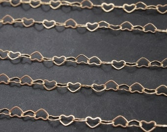 N0018/Anti-Tarnished Gold Plating Over Brass/Heart Link Chain/4.5mmx3mm/1yard