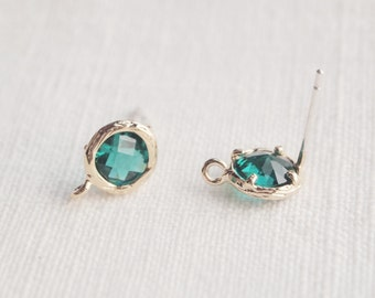 E000102/Emerald/Faceted Glass +Gold Plated Over Brass Frame+Sterling Silver Post/Faceted Glass Earrings/7.6x 10.4mm/2pcs