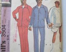 Vintage 1973  Simplicity sewing pattern# 3504  Men's Jog suit sport jacket  and Racket cover jog suit for unbonded stretchable knits