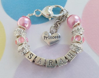 Silver Plated Bracelet.   Personalized for a Girl/Baby/Child.  Any Name. Perfect Newborn Baby Girl Gift.