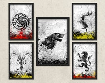 Game of Thrones Inspired Art, Watercolor Game of thrones, House Stark, House Lannister, House Targaryen, House Greyjoy, House Baratheon